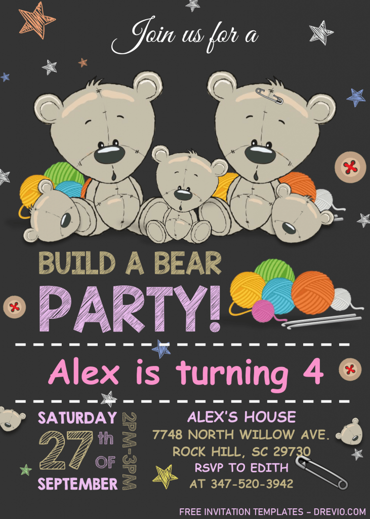 Build A Bear Birthday Invitation Templates - Editable With MS Word and Has colorful stars