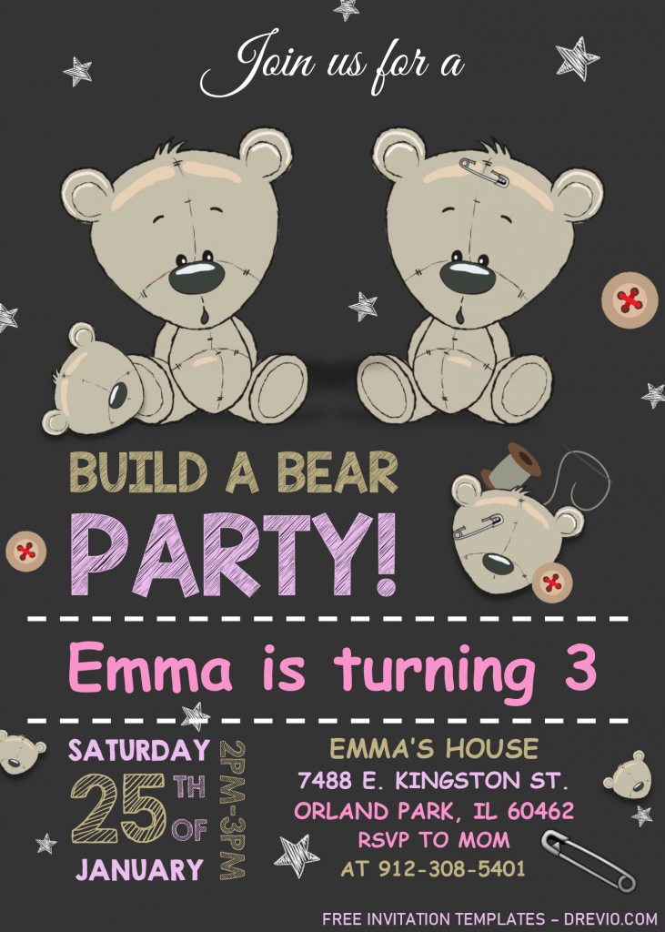 Build A Bear Birthday Invitation Templates - Editable With MS Word and Has adorable font styles