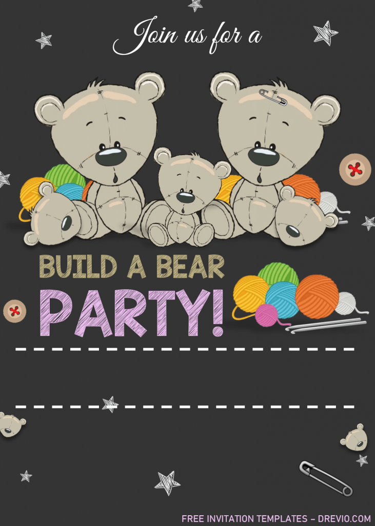Build A Bear Birthday Invitation Templates - Editable With MS Word and Has cute teddy bear graphics