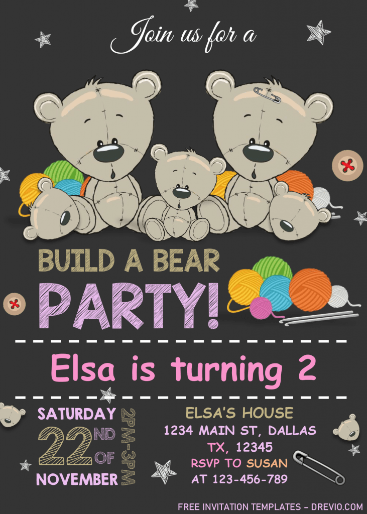 Build A Bear Birthday Invitation Templates - Editable With MS Word and Has portrait orientation