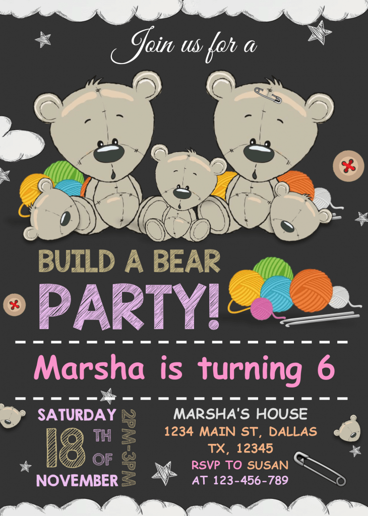 Build A Bear Birthday Invitation Templates - Editable With MS Word and Has black gray background