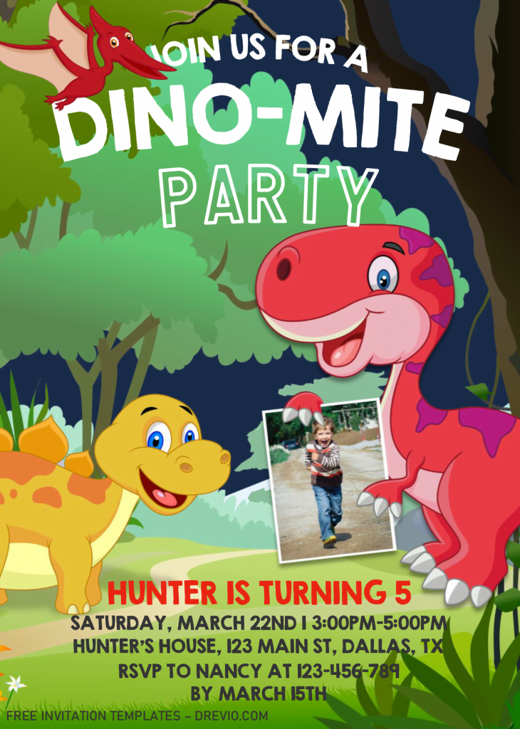 Dinosaur Invitation Templates - Editable .Docx and has Photo or Picture Frame