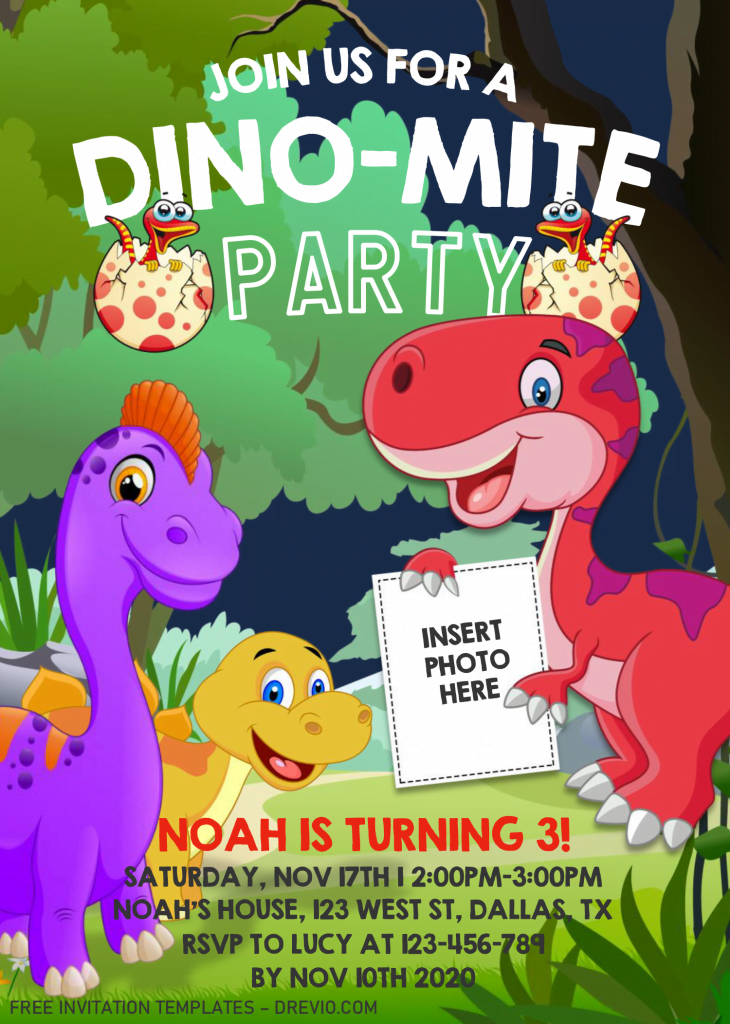 Dinosaur Invitation Templates - Editable .Docx and has Cool and Aesthetic Fonts
