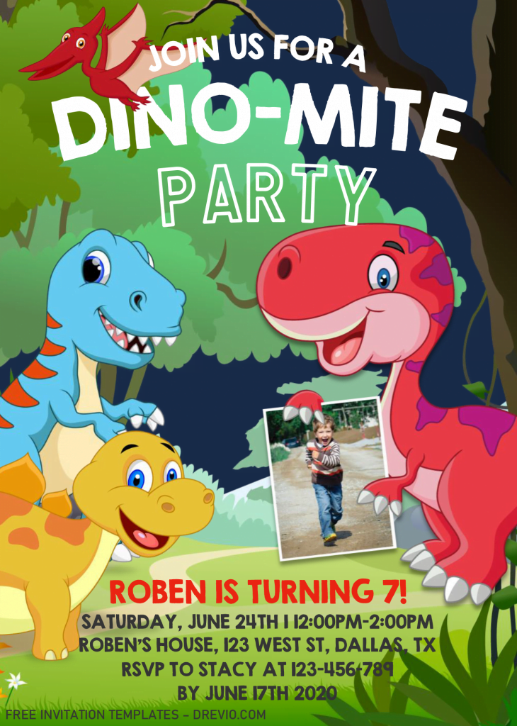 Dinosaur Invitation Templates - Editable .Docx and has T-rex and Ankylosaurus
