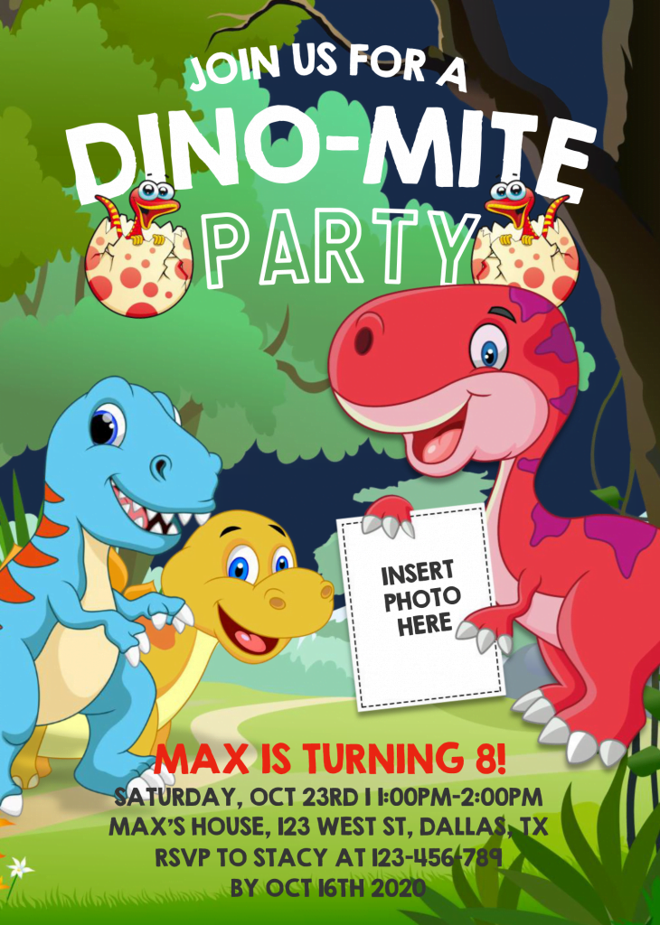 Dinosaur Invitation Templates - Editable .Docx and has Cartoon Style