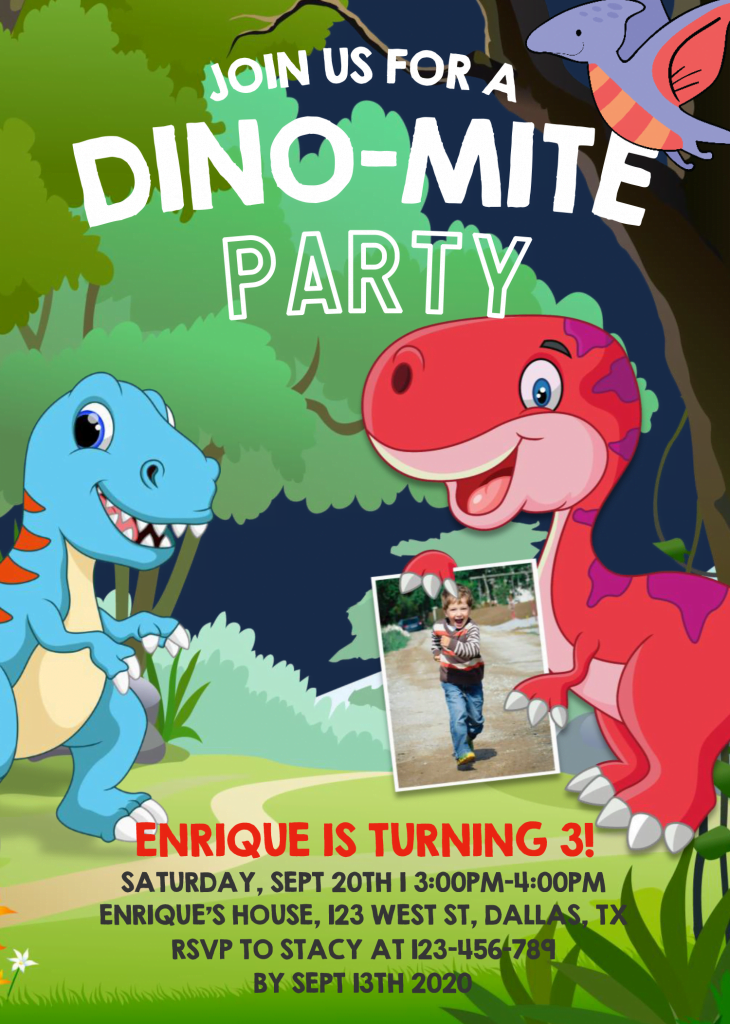 Dinosaur Invitation Templates - Editable .Docx and has Forest Background