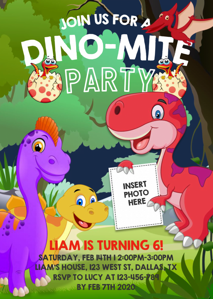 Dinosaur Invitation Templates - Editable .Docx and has portrait orientation