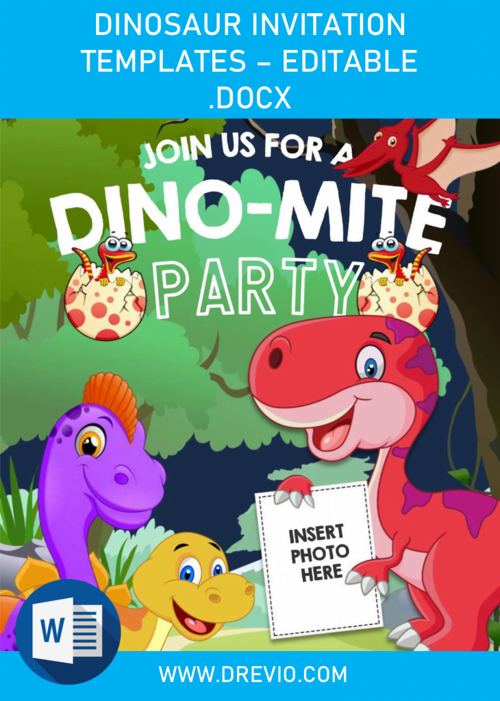 Dinosaur Invitation Templates - Editable .Docx
