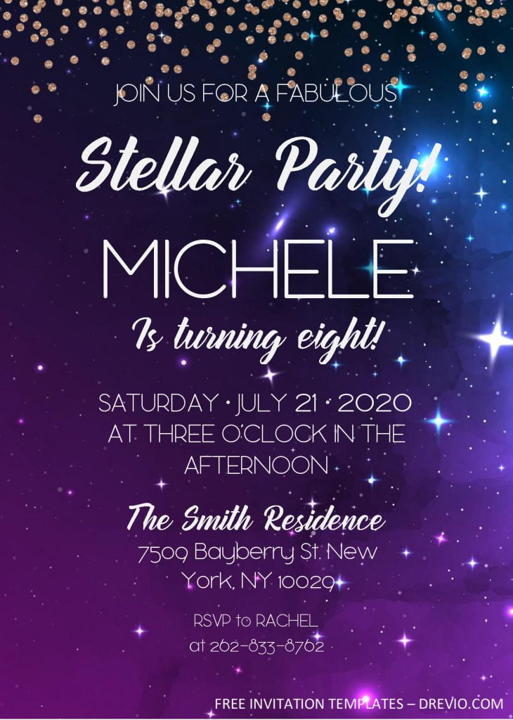 Galaxy Birthday Invitation Templates - Editable With MS Word