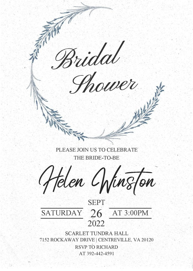 Modern Floral Invitation Templates - Editable With MS Word and has bridal shower wording