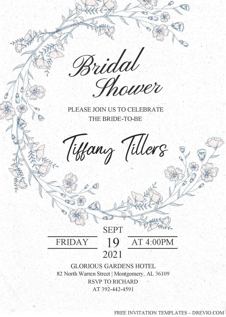 Modern Floral Invitation Templates - Editable With MS Word and has floral painting