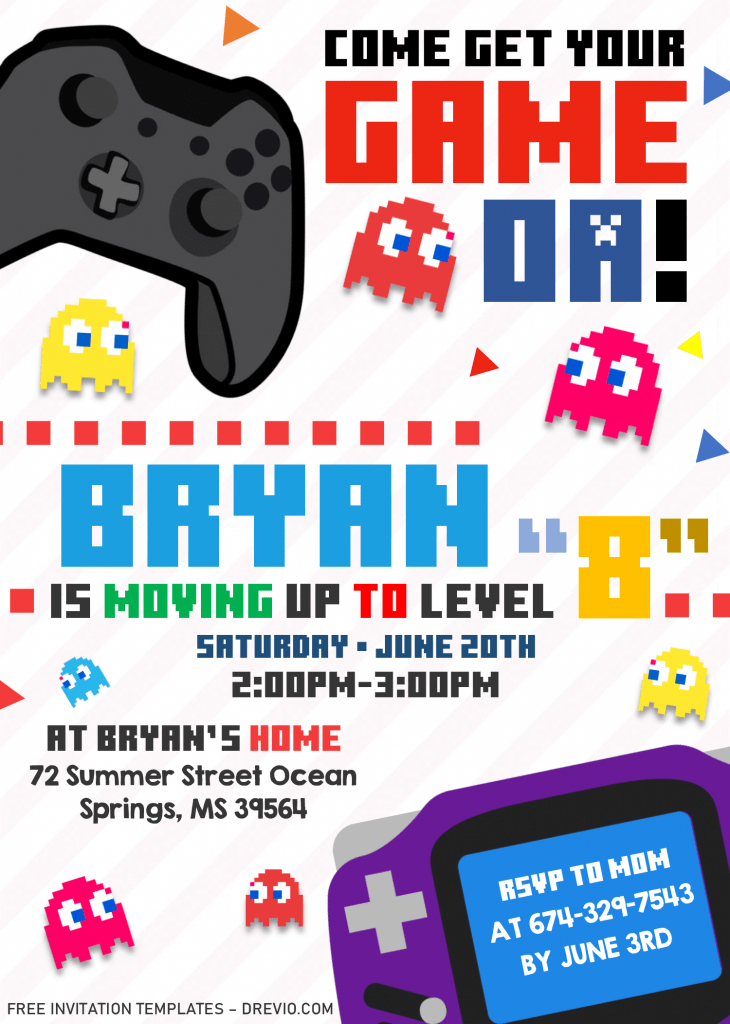 Video Game Invitation Templates - Editable .Docx and has pacman characters