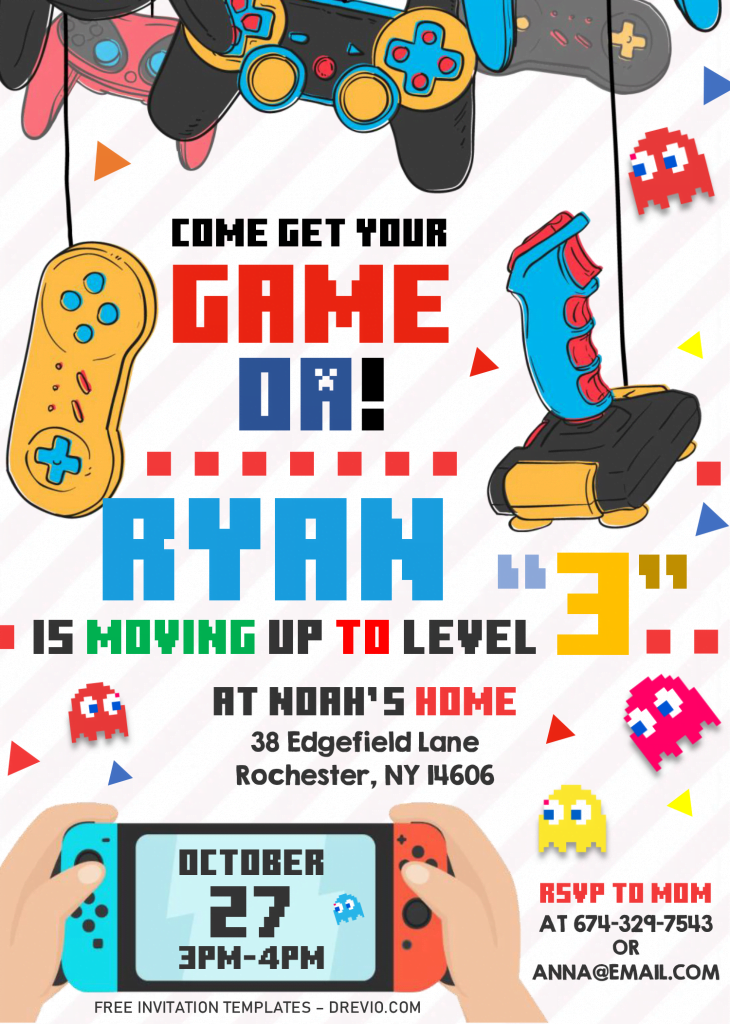 Video Game Invitation Templates - Editable .Docx and has Nintendo Switch