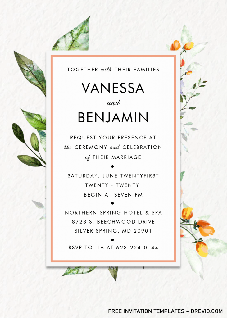 Modern Floral Invitation Templates - Editable .Docx and has beautiful font styles