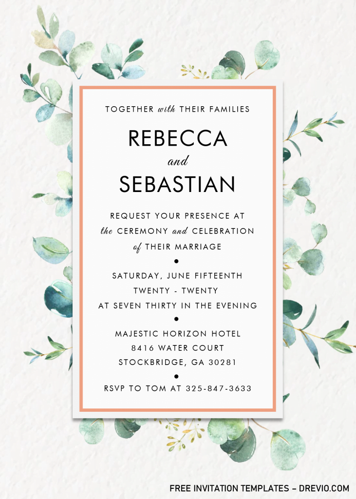Modern Floral Invitation Templates - Editable .Docx and has rectangle text box