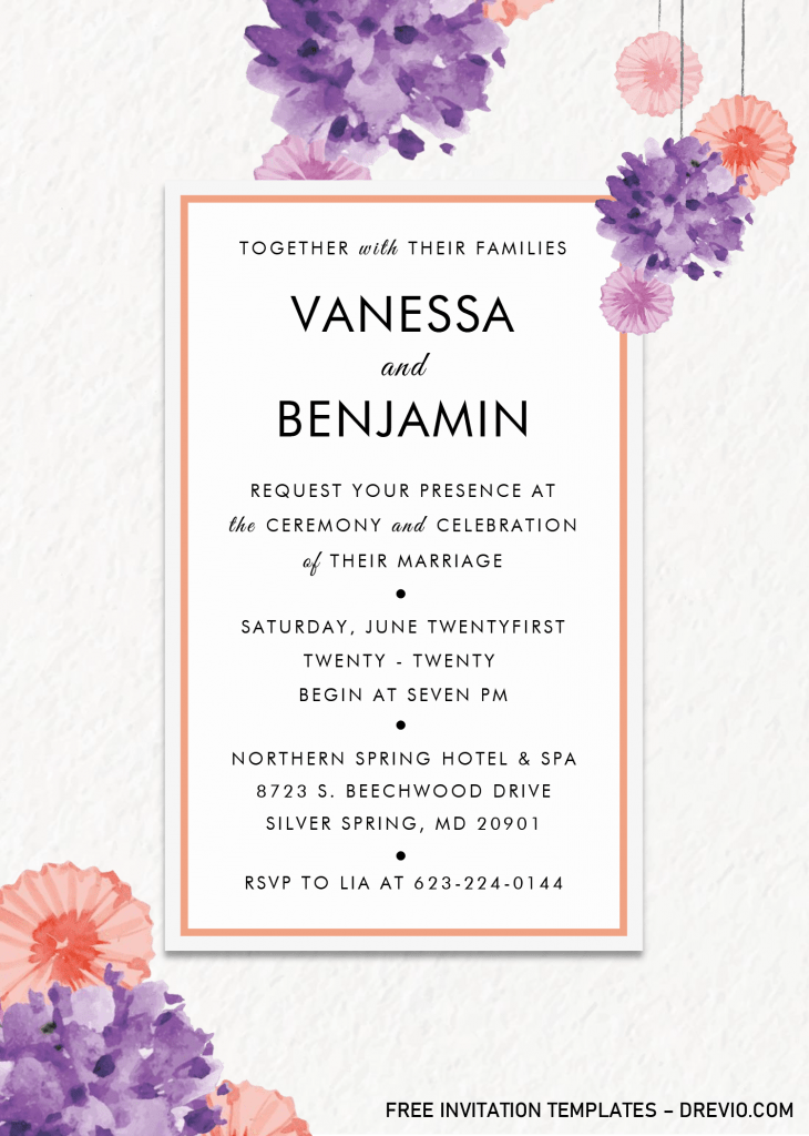 Modern Floral Invitation Templates - Editable .Docx and has Paper Grain Background