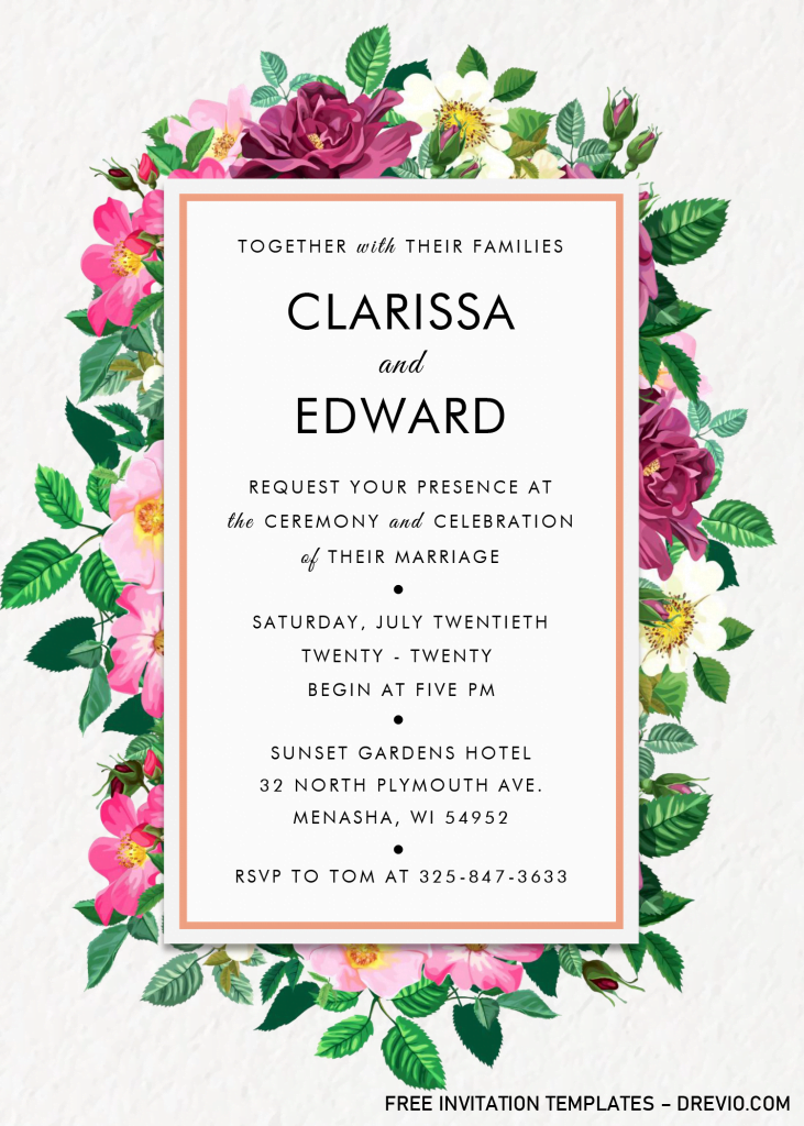 Modern Floral Invitation Templates - Editable .Docx and has portrait orientation