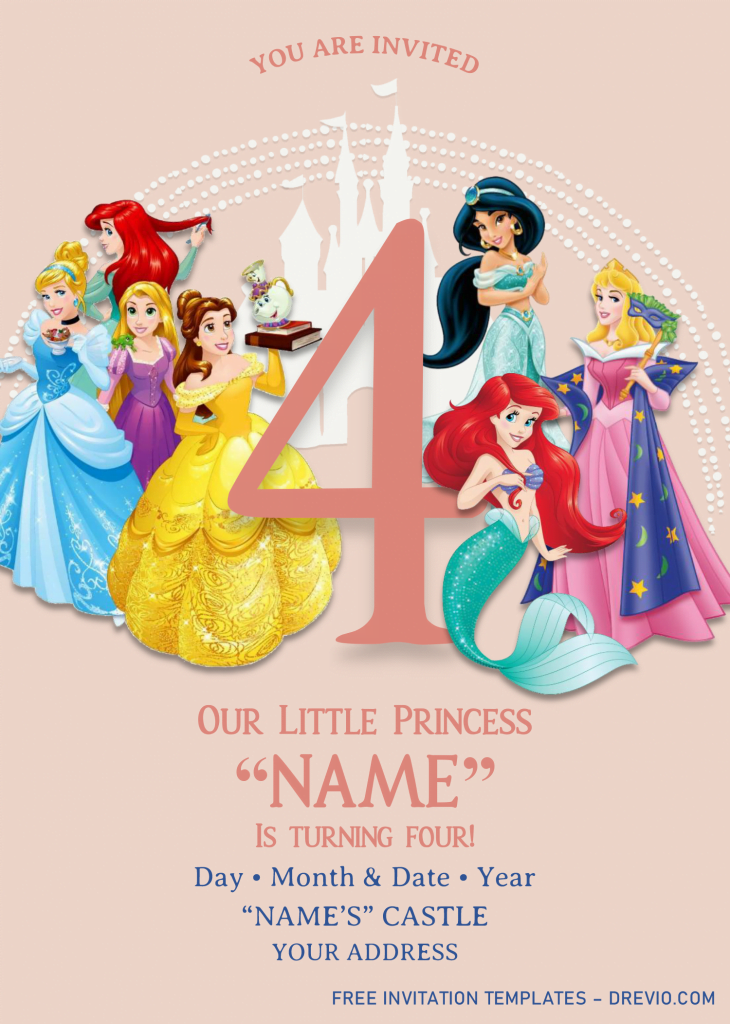 Disney Princess Birthday Invitation Templates - Editable With MS Word and has ariel the little mermaid