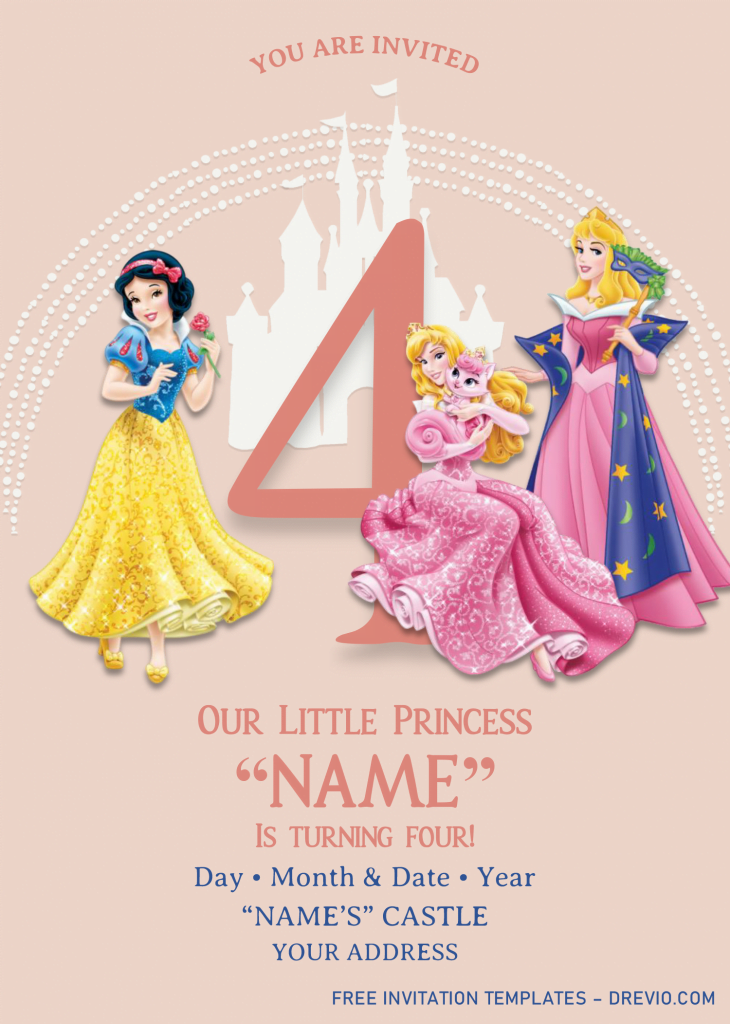 Disney Princess Birthday Invitation Templates - Editable With MS Word and has snow white and aurora
