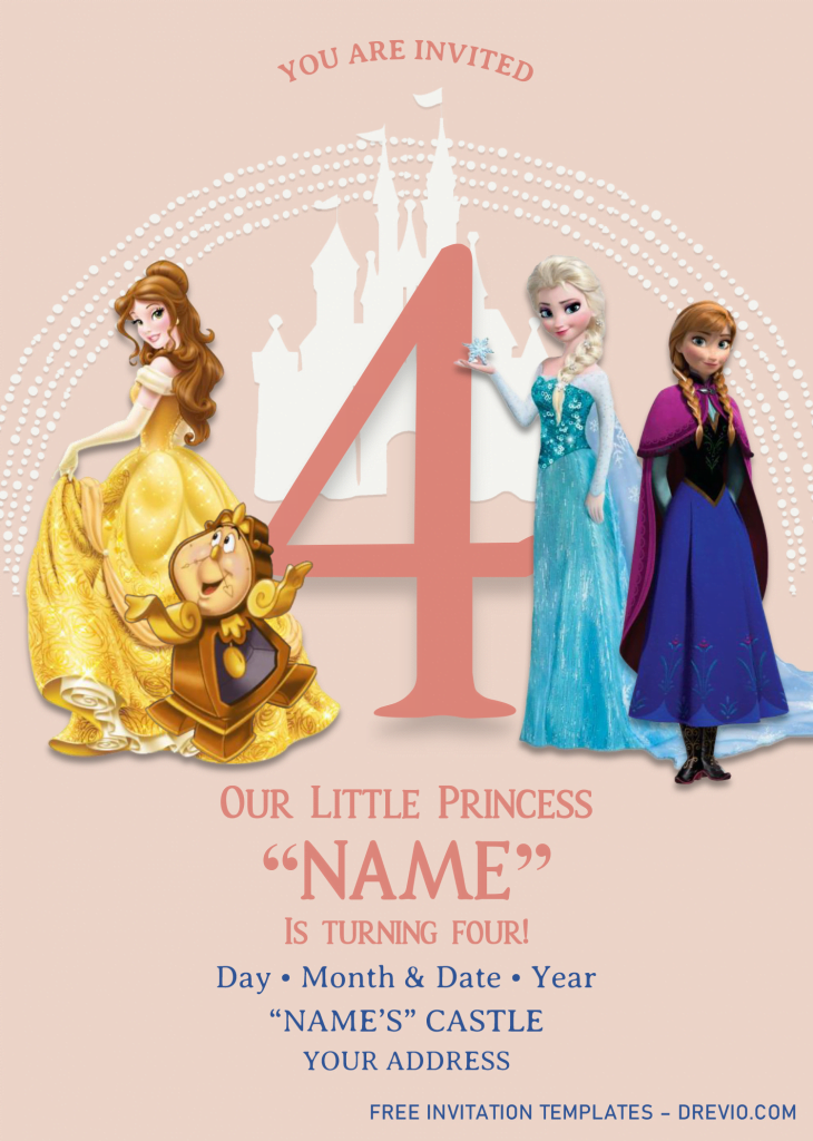 Disney Princess Birthday Invitation Templates - Editable With MS Word and has elsa and anna frozen