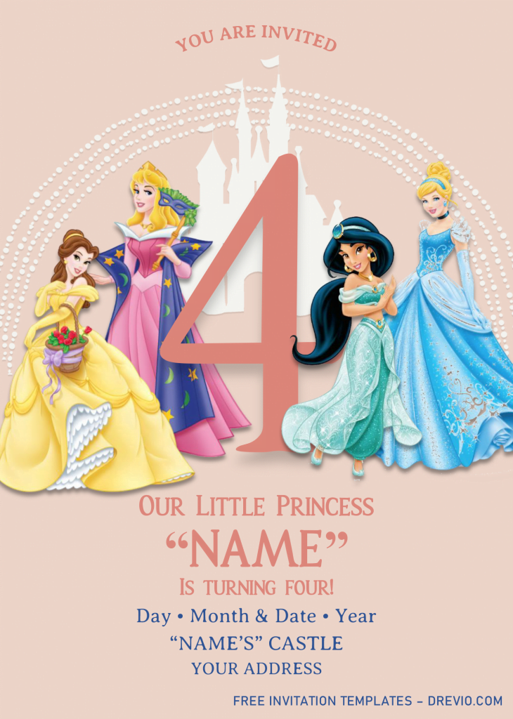 Disney Princess Birthday Invitation Templates - Editable With MS Word and has white disney castle
