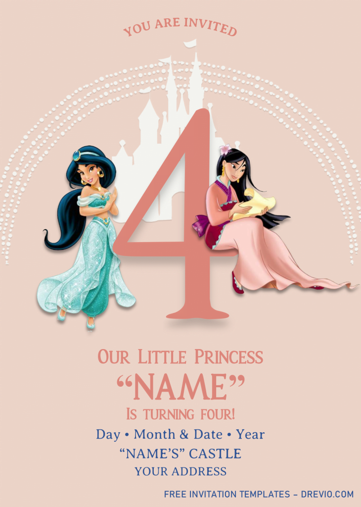 Disney Princess Birthday Invitation Templates - Editable With MS Word and has jasmine and mulan