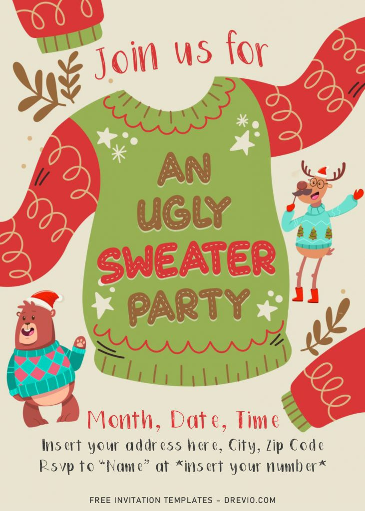 Free Ugly Sweater Party Invitation Templates For Word and has cute animals wearing sweater