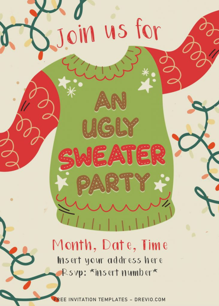 Free Ugly Sweater Party Invitation Templates For Word and has tan background