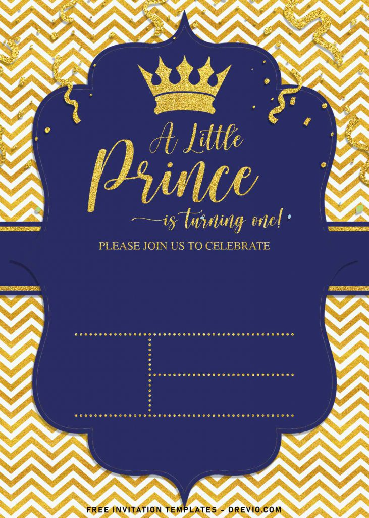 10+ Gold Glitter Prince Themed Birthday Invitation Templates For Your Birthday Party and has a little prince text