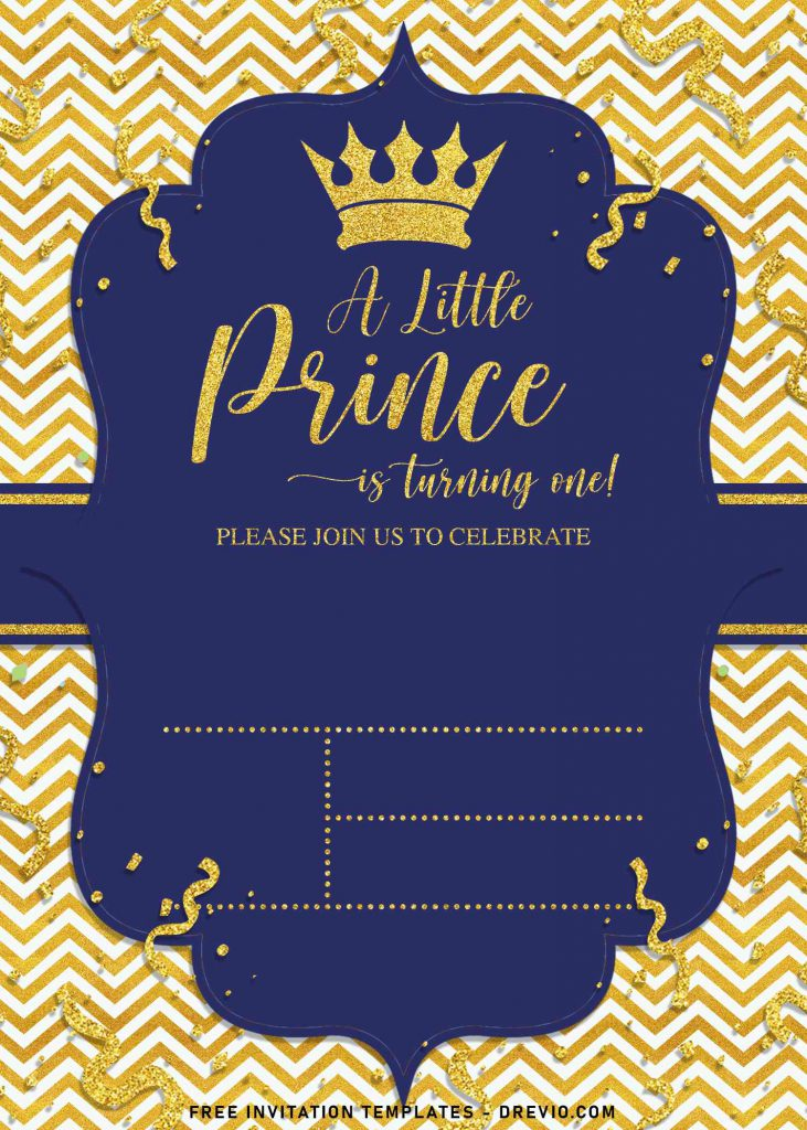 10+ Gold Glitter Prince Themed Birthday Invitation Templates For Your Birthday Party and has gold glitter confetti