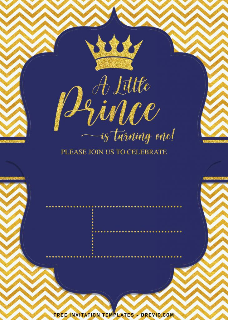 10+ Gold Glitter Prince Themed Birthday Invitation Templates For Your Birthday Party and has sparkling gold glitter chevron background