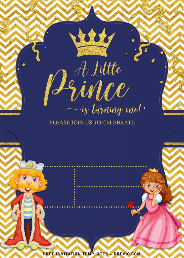 10+ Gold Glitter Prince Themed Birthday Invitation Templates For Your Birthday Party and has cute king and queen illustrations