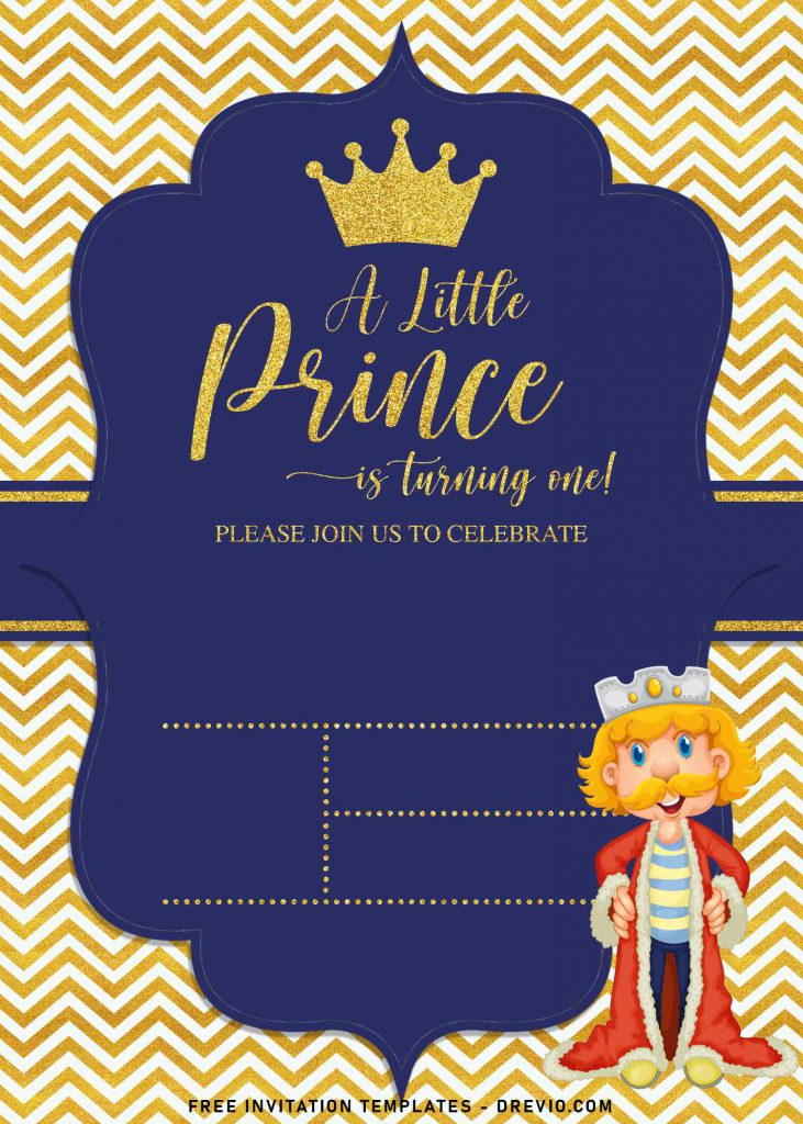 10+ Gold Glitter Prince Themed Birthday Invitation Templates For Your Birthday Party and has cute prince wear robe and crown