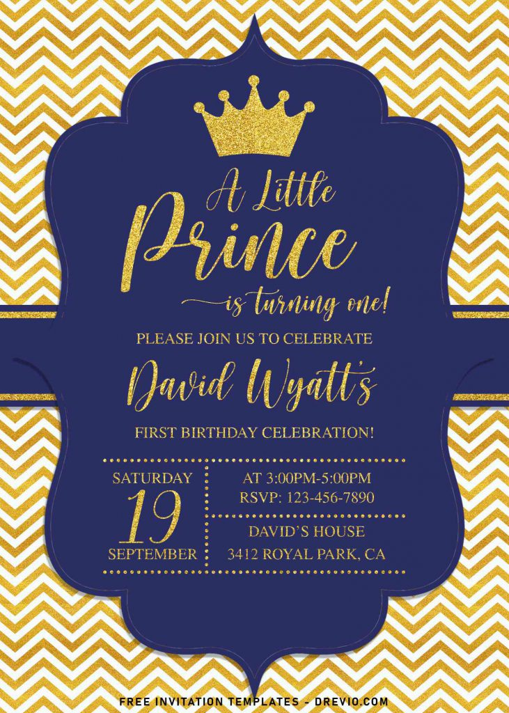 10+ Gold Glitter Prince Themed Birthday Invitation Templates For Your Birthday Party