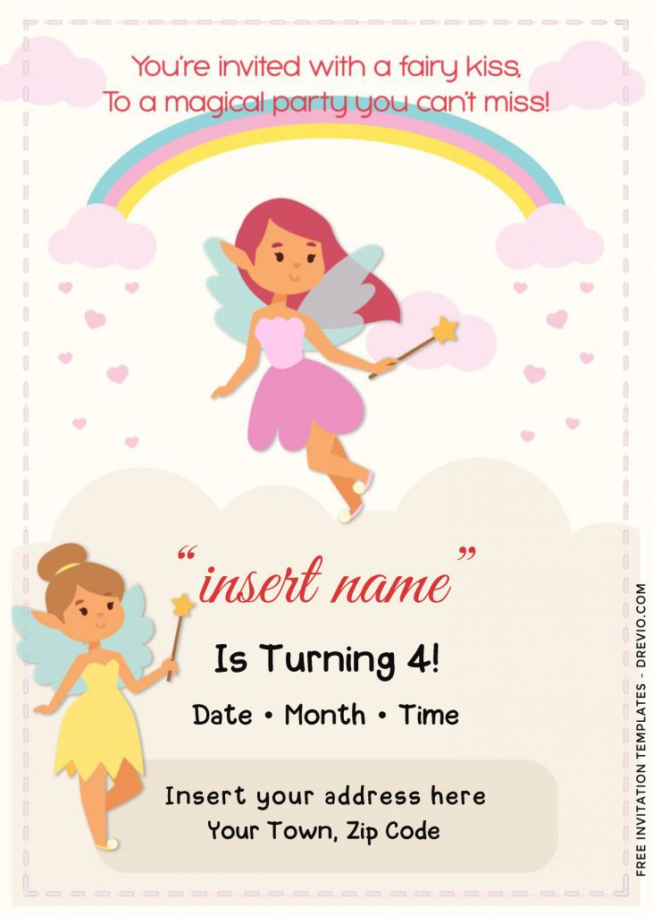 Free Rainbow Magic Fairy Birthday Invitation Templates For Word and has fairies holding star wands