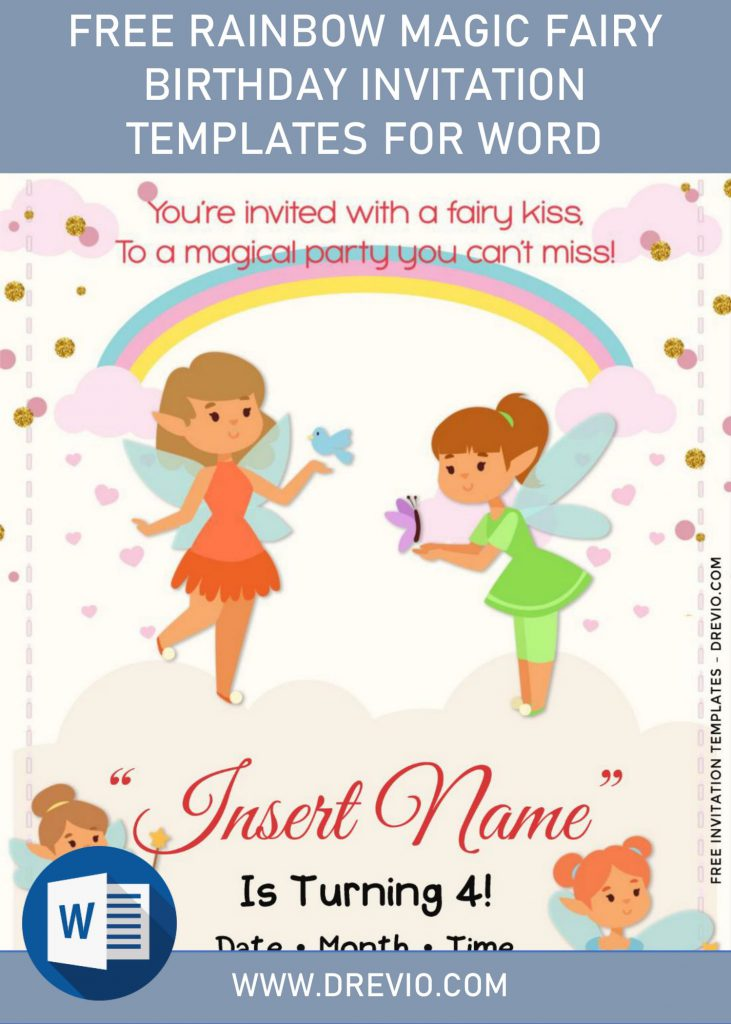 Free Rainbow Magic Fairy Birthday Invitation Templates For Word