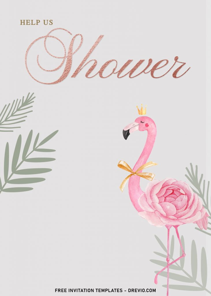 7+ Watercolor Flamingo And Rose Gold Birthday Invitation Templates and has gorgeous pink flamingo