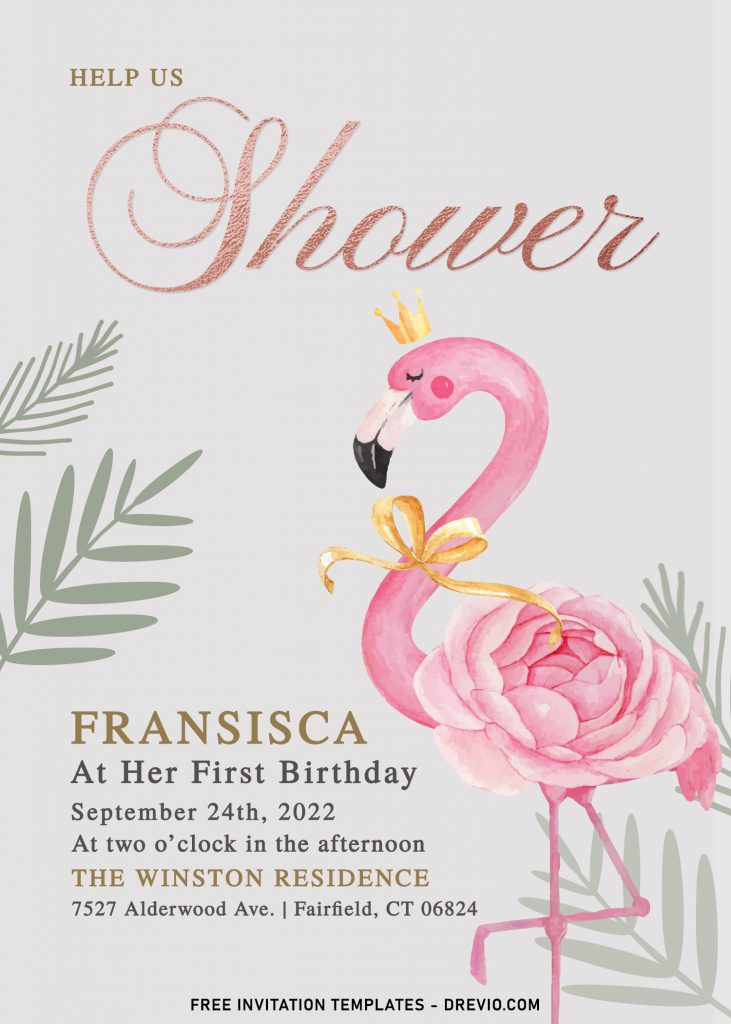 7+ Watercolor Flamingo And Rose Gold Birthday Invitation Templates