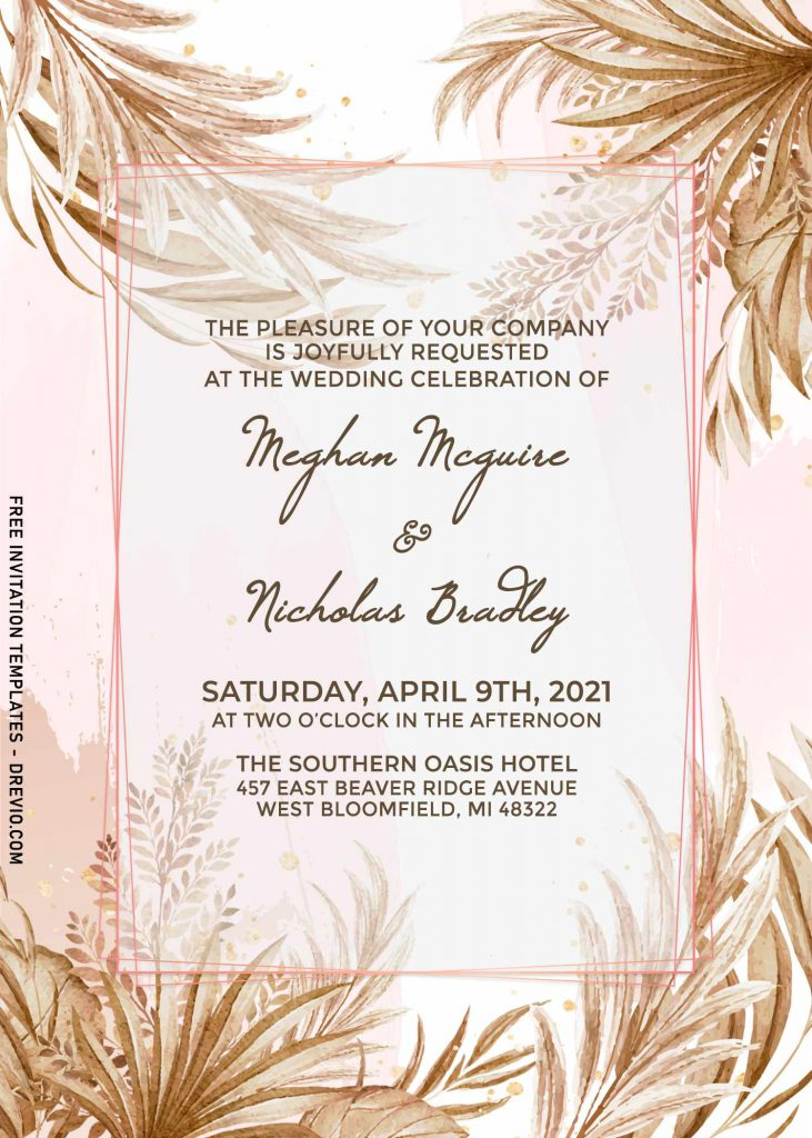 11+ Greenery Leaves And Pampas Grass Wedding Invitation Templates