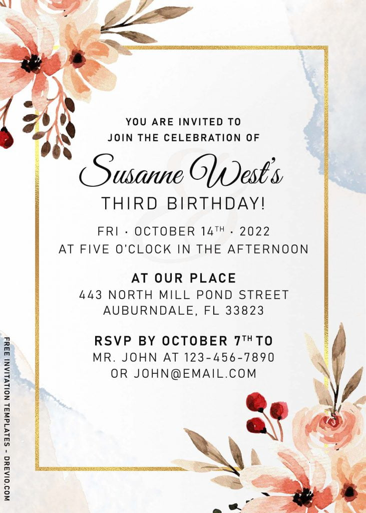 11+ Vintage Hand Drawn Floral Birthday Invitation Templates