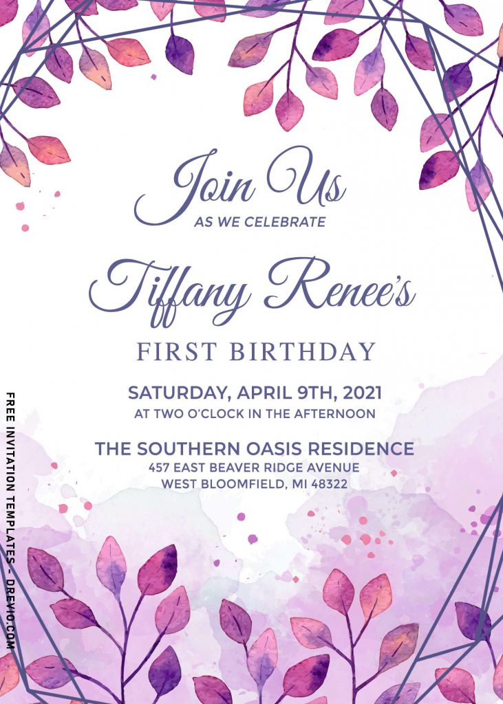 10+ Beautiful Purple Floral And Leaves Birthday Invitation Templates