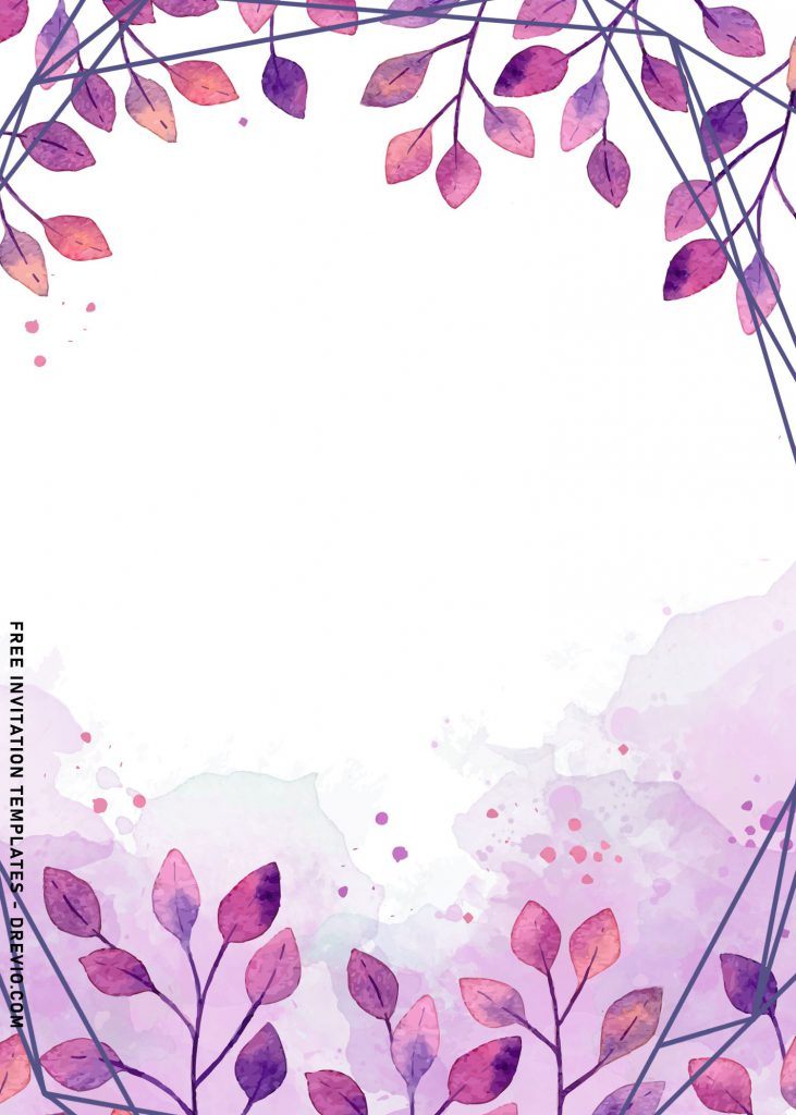 10+ Beautiful Purple Floral And Leaves Birthday Invitation Templates and has geometric pattern
